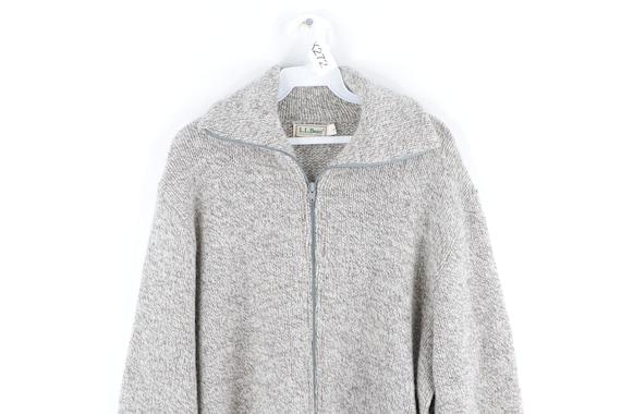 80s LL Bean Wool Full Zip Sweater Jacket Heather … - image 2