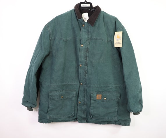 90s New Carhartt Mens Lined Corduroy Collar Chore