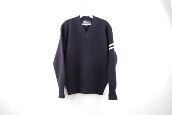 90s Ralph Lauren Striped Wool Varsity Sweater Navy