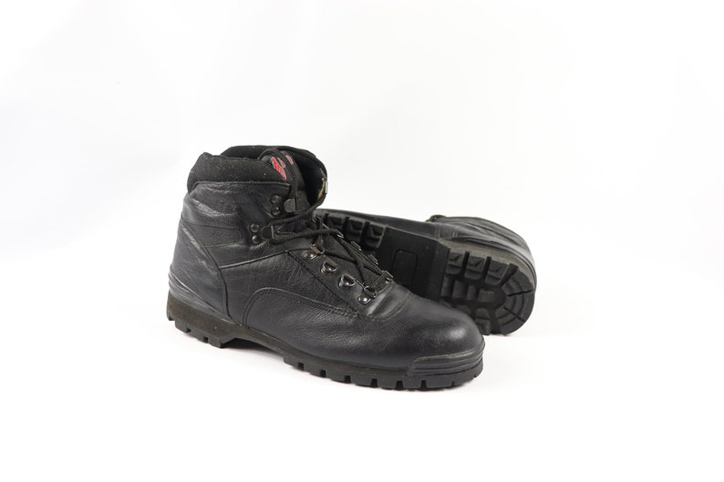 90s New Carolina Mens 10.5 R Leather Ankle Outdoor Hiking Work Boots Black Leather Hipster Boot Vintage Carolina Boots 90s Boots,