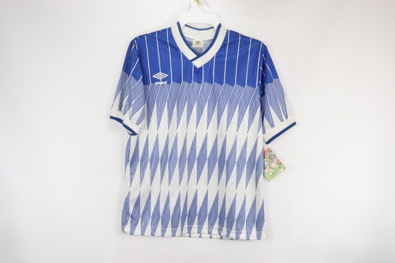 Vtg 80s New Umbro Mens Small Scotland Striped Soccer Jersey White Yellow Blue