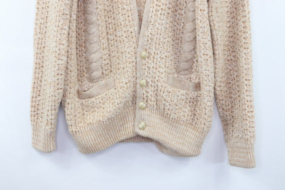 50s Hand Knit Cable Cowichan Cardigan Sweater Bei… - image 3