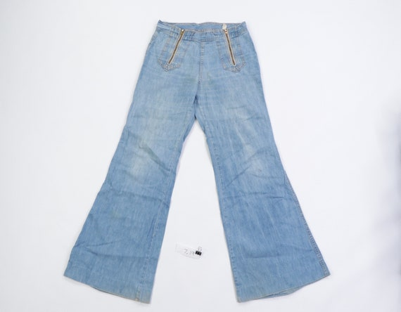 70s Distressed Faded Flared Leg Bell Bottom Jeans