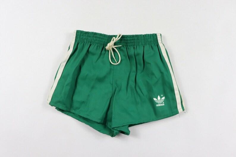 3643142ea9 80s New Adidas Spell Out Trefoil Running Jogging Soccer Shorts Mens Green  White, Vintage Adidas Soccer Shorts, 80s Adidas Running Shorts
