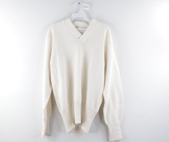 70s Holloway Long Sleeve Knit V Neck Sweater White
