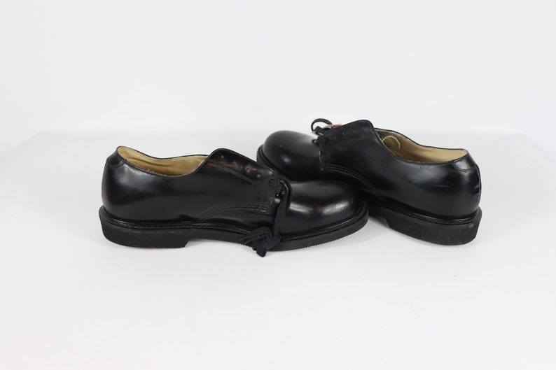Oxford Work Shoes 90s New Georgia Mens 11 E Leather Steel Toe Lace Up Oxford Dress Shoes Black Vintage Georgia Boots 1990s Mens Boots