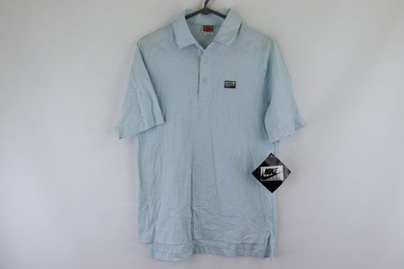 NOS 80s Nike Golf Spell Out Patch Polo Shirt Blue
