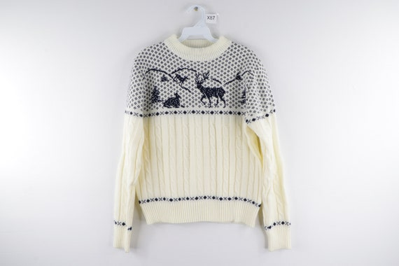 80s Fair Isle Print Reindeer Snow Print Knit Crewn