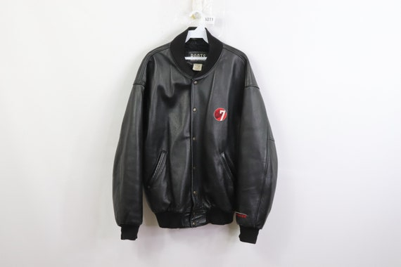 90s Streetwear Wool Leather Full Button Varsity Ja