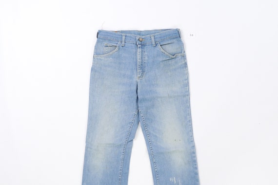 70s Lee MR Distressed Faded Flare Wide Leg Jeans … - image 2