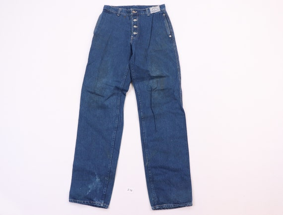 80s Levis 522 Movin On Distressed Button Fly Denim