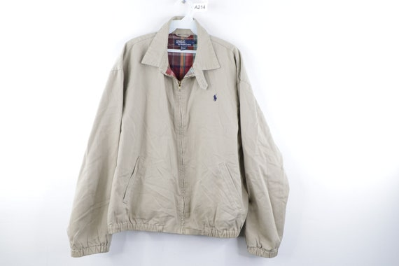 90s Ralph Lauren Flannel Lined Cotton Bomber Jacke