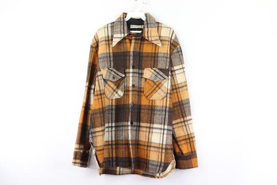 50s Ohrbach's CPO Navy Double Pocket Wool Plaid Sh