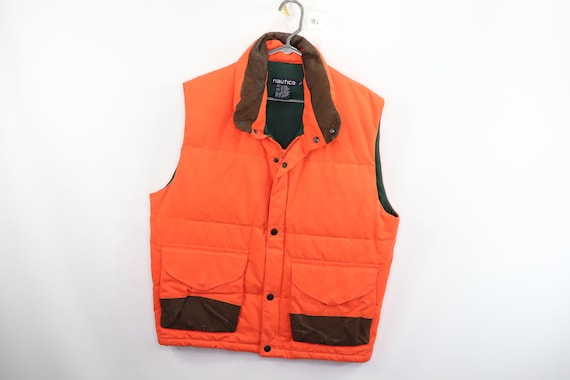90s Nautica Leather Trim Full Zip Down Puffer Vest
