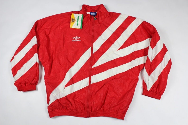 5b18bd0e38a15 90s New Umbro Soccer Spell Out All Over Print Full Zip Windbreaker Jacket  Mens XL Red, Vintage Umbro Jacket, 1990s Umbro, Umbro Coat, Soccer