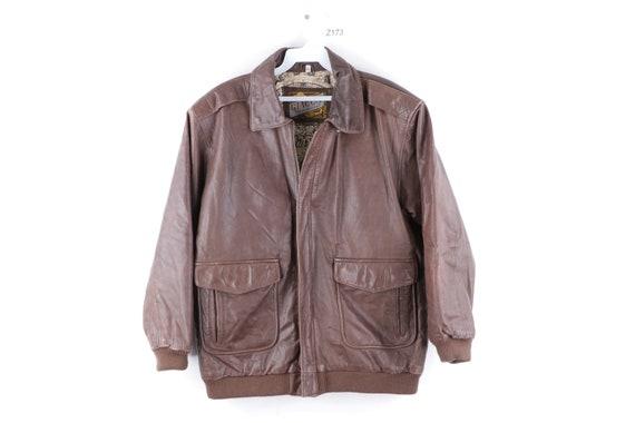 90s Streetwear Distressed Leather Flight Bomber Ja