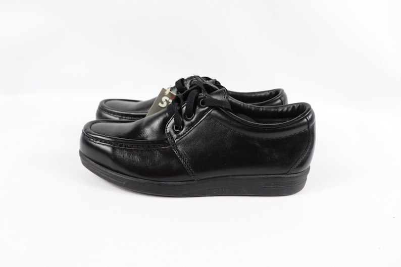 1556ec11349be 80s New Red Wing Shoes 6604 Steel Toe Moc Leather Work Shoes Mens 8 D  Black, Vintage Red Wing Shoes Steel Toe Oxfords, Vintage Red Wing