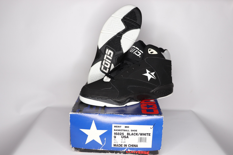 c92c116054724 90s New Converse Cons Merit Mid Athletic Basketball Shoes Mens Black 16825,  Vintage Converse Sneakers, Converse Basketball Shoes Mens, 1990s