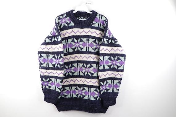 50s Rockabilly Cowichan Hand Knit Fair Isle Print