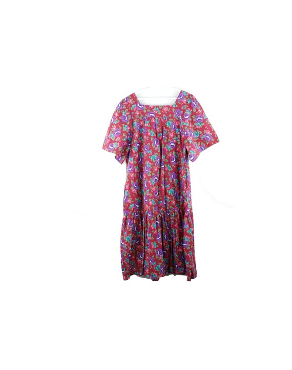 NOS Deadstock 70s Red Floral Print Psychedelic Muu