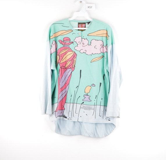 80s Peter Max Monk With Falling Leaves 3/4 Sleeve