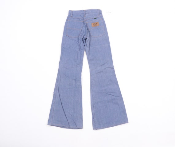 70s High Rise Flared Bell Bottom Denim Jeans Blue… - image 7