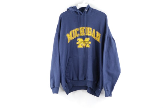 90s University of Michigan Spell Out Faded Hoodie