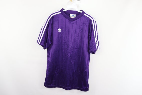 90s Adidas Trefoil Spell Out Striped Soccer Jersey