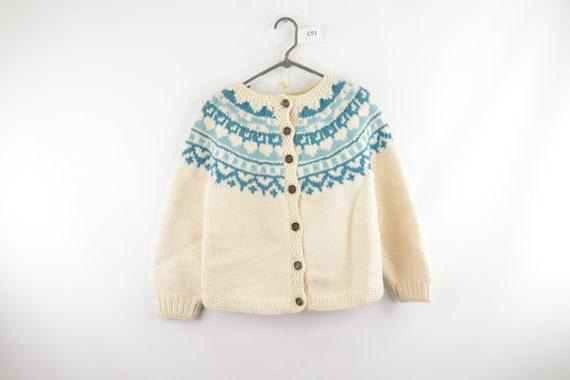 50s Hand Knit Wool Cowichan Fair Isle Cardigan Swe
