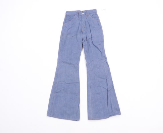 70s High Rise Flared Bell Bottom Denim Jeans Blue… - image 1