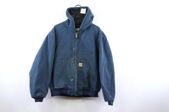 90s Carhartt Distressed Faded Quilt Lined Hooded J