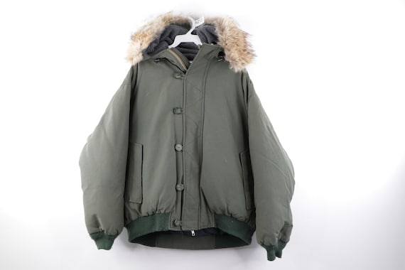 90s Woolrich Fur Trim Hooded Down Military Fatigue