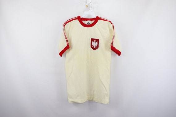 80s Poland 1982 World Cup Soccer Jersey Cream Red