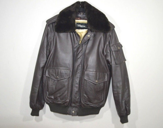 70s Wilsons Leather Full Zip Faux Shearling Collar
