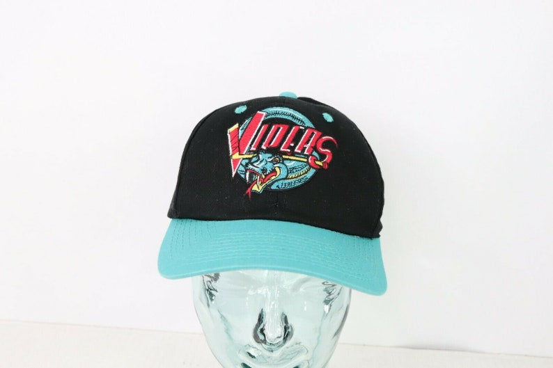 c2eea144 90s Detroit Vipers IHL Hockey Spell Out Snapback Hat Cap Black Teal,  Vintage Detroit Vipers Hat, 90s IHL Hockey Hat, Vintage Mens Hat Cap