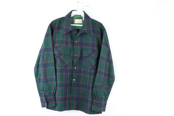 NOS 60s Sears Double Pocket Virgin Wool Plaid Shir