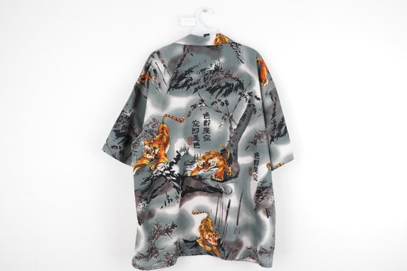 90s Streetwear Anime Tiger All Over Print Button … - image 5