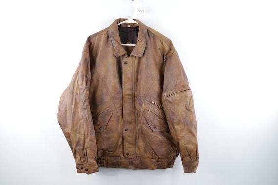 80s Streetwear Distressed Leather Flight Bomber Ja