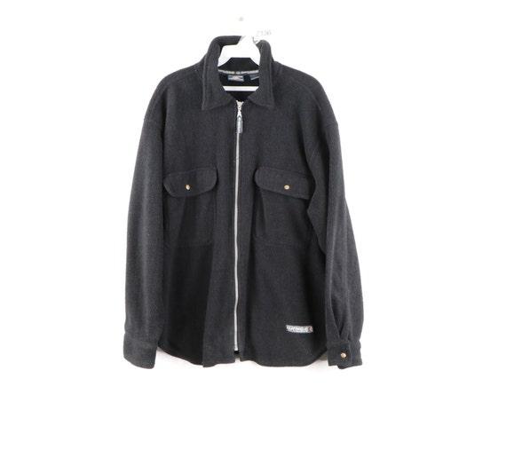 90s Streetwear Double Pocket Fleece Full Zip Shirt