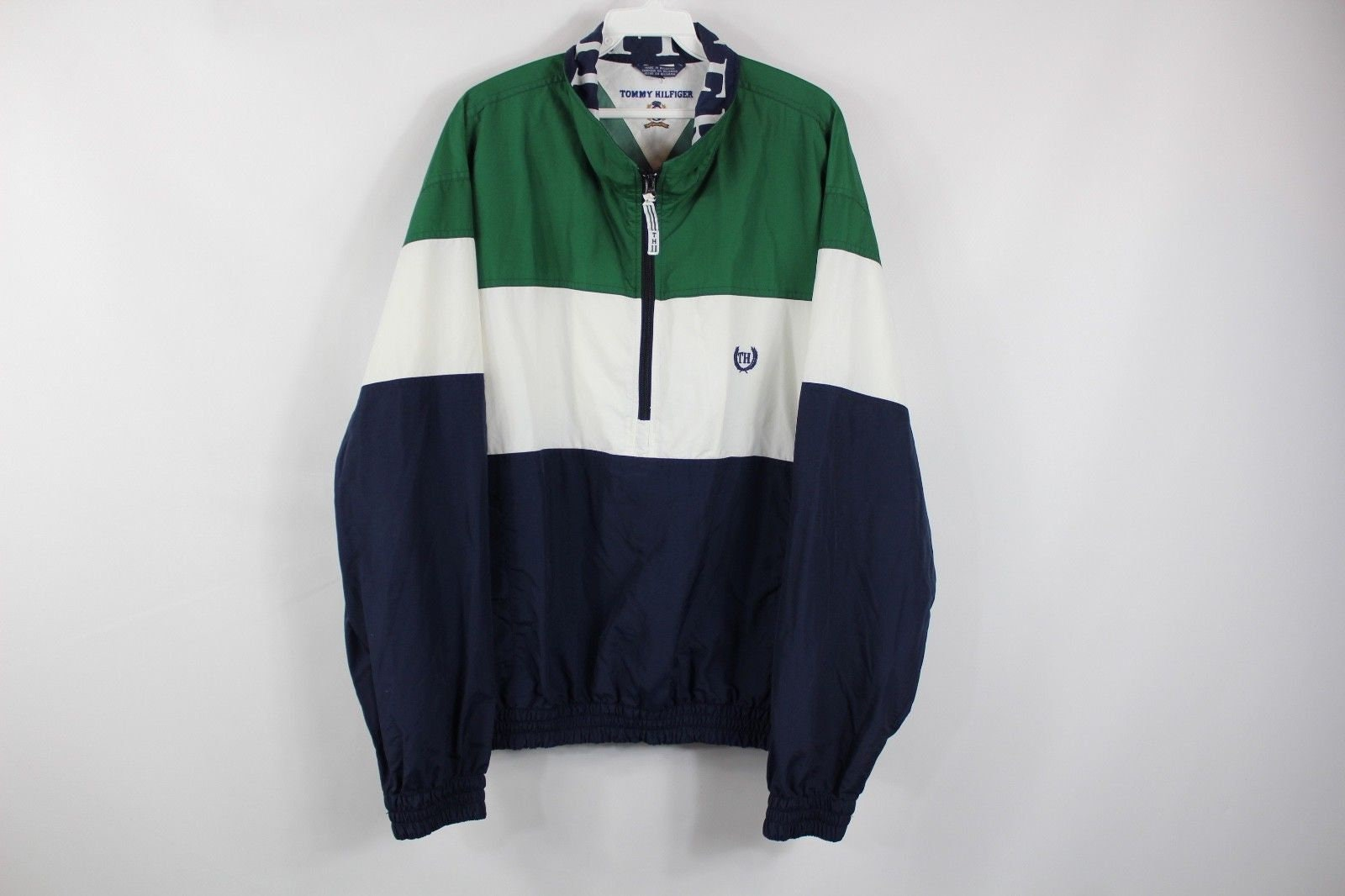 e6c4392260 90s Tommy Hilfiger Spell Out Color Block Half Zip Pullover
