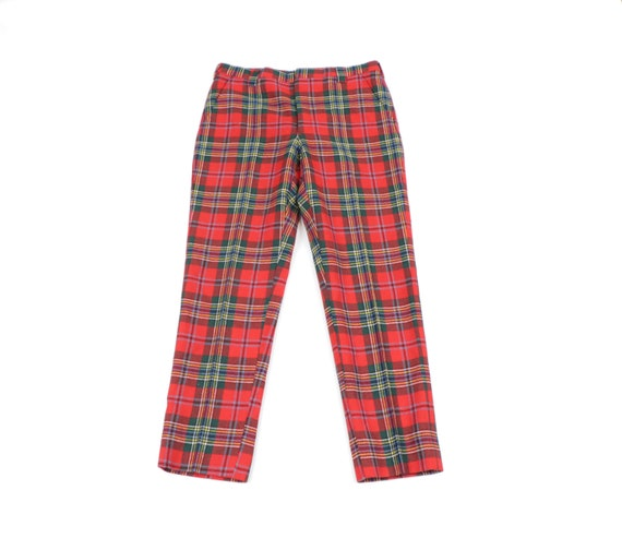 80s Streetwear Scottish Tartan Wool Plaid Golfing