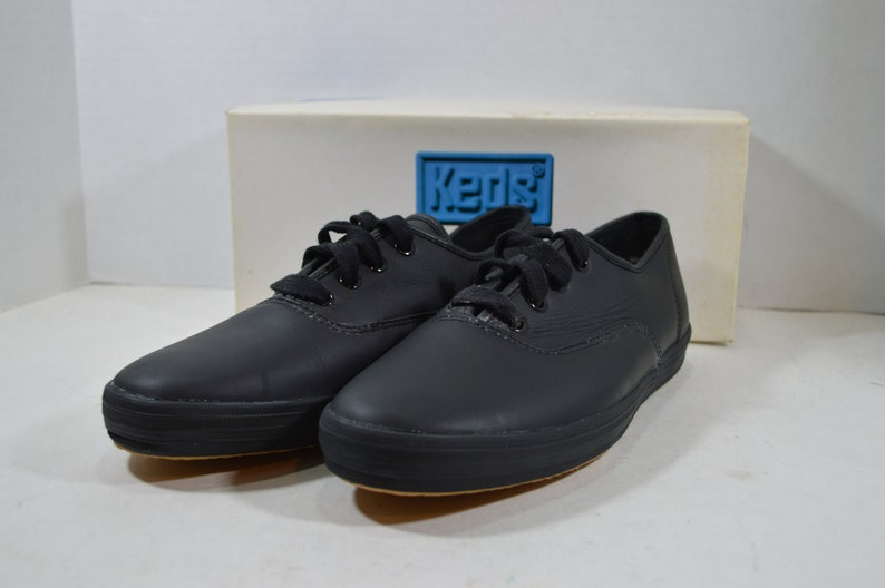 d5edc774e Vintage 90s Keds Champion Leather Lace Up Shoes Womens Black