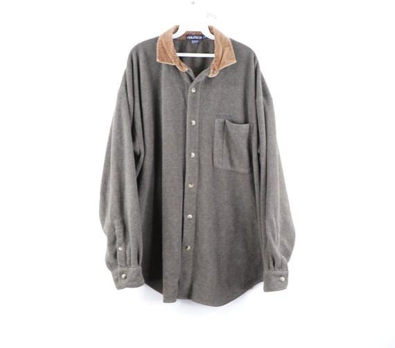90s Nautica Spell Out Corduroy Collar Fleece Shirt