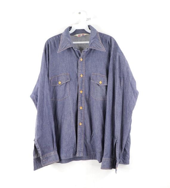 70s Double Pocket Chambray Long Sleeve Denim Jean