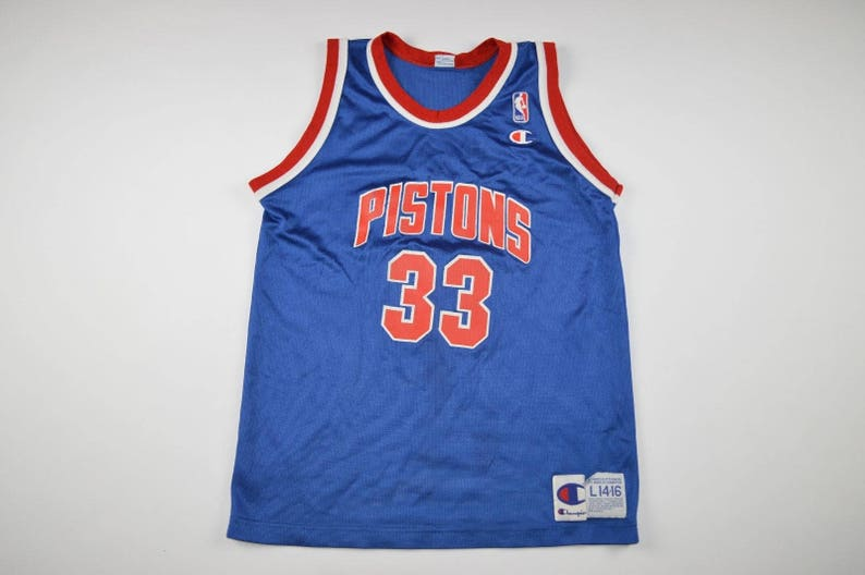 90s Champion Detroit Pistons Grant Hill 33 Basketball Jersey  969ee64f5