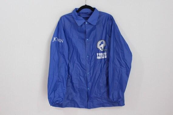 sports shoes 51c4c 5336d 90s Detroit Lions NFL Football Full Button Outdoor Rain Jacket Coat Mens  Medium Blue, Vintage Detroit Lions Jacket, 90s Raincoat, Vintage