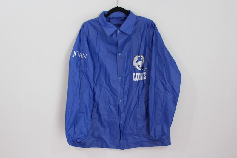 6e315d8e 90s Detroit Lions NFL Football Full Button Outdoor Rain Jacket Coat Mens  Medium Blue, Vintage Detroit Lions Jacket, 90s Raincoat, Vintage