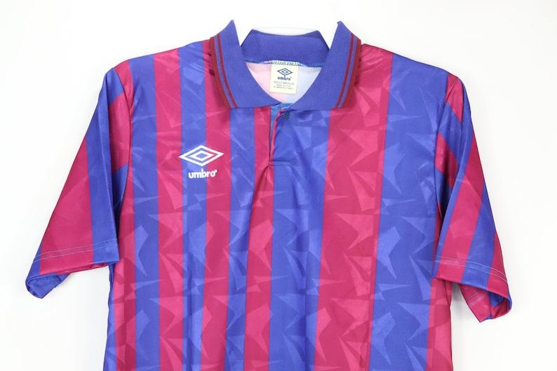 fd0432a3cda 80s New Umbro Striped Barcelona Short Sleeve Soccer Jersey