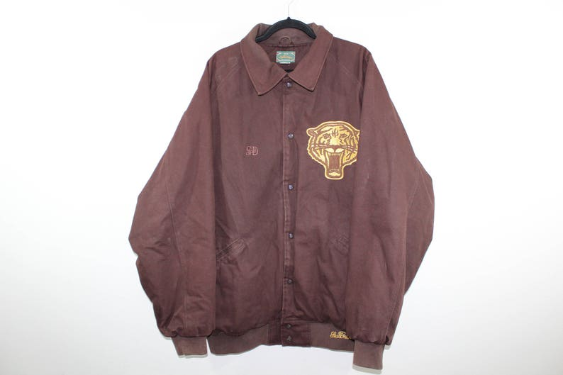 90s Stall and Dean Brooklyn Tigers Spell Out Denim Jean Bomber Jacket Mens 4XL Brown, Vintage Stall and Dean Jacket, 90s Bomber Jacket Coat