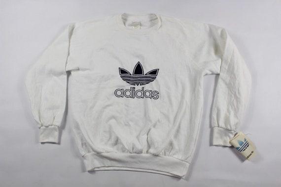 80s Adidas Trefoil Logo Spell Out Run DMC Crewneck Sweater White Mens, Vintage Adidas Sweatshirt, 1980s Adidas Sweater, Mens Crewneck